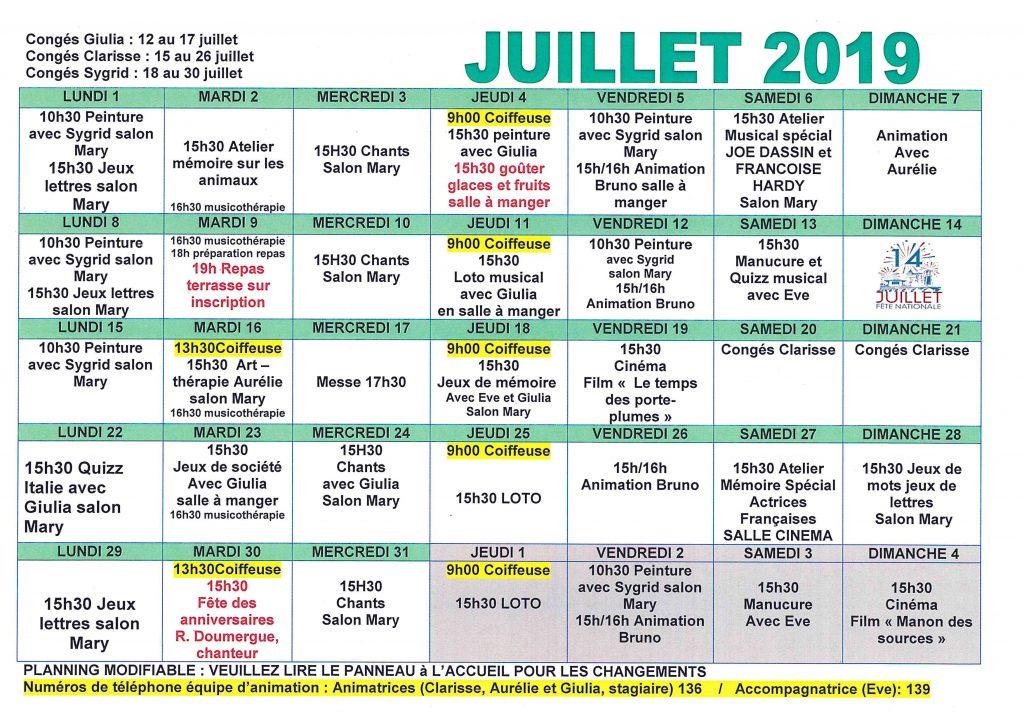 Planning Juillet 2019